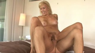 Erica Lauren old mature blonde bitch rides cock and gets pounded doggystyle. image