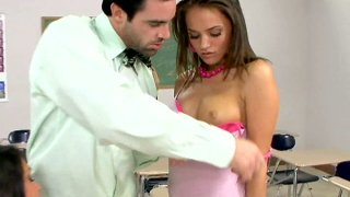 Extremly hot teen girls_Charley Chase & Tori Black_sucking teacher's cock in the class image