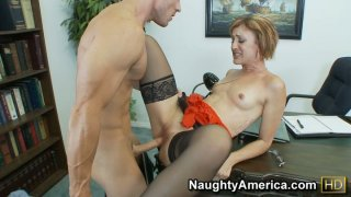 Dirty slut Dylan Ryan giving hot blowjob_to her boss and getting nailed hard image