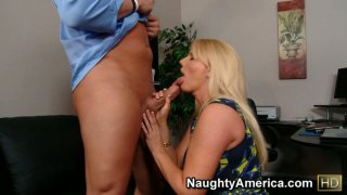 Hussy milf Karen Fisher gives hot blowjob and getting nailed on the first date image