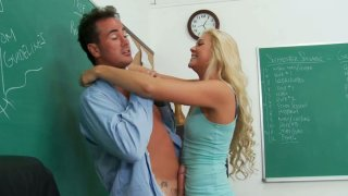 Blonde whore Jessie Andrews giving hot blowjob and getting her pussy eaten hard image