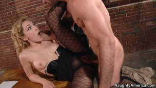 Milf pussy of blonde Lily LaBeau fucked on the table image