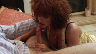 Booty redhead bitch Joslyn James gives awesome blowjob image