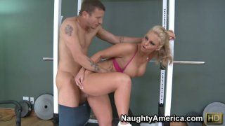 Scrumptious blonde bitch Phoenix Marie gets banged in doggy image