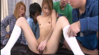Tight jap Yuzu Shiina in hottest bukakke action image