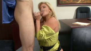 Blondie mature whore pleases her boss image
