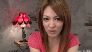 Shy japanese whore Rei passes her first casting and masturbates on a cam image
