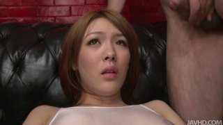 Japanese chick Rei gets toy fucked and face blasted with spunk image