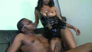 Nasty black whore Hypnotique gives blowjob and rides on bbc image