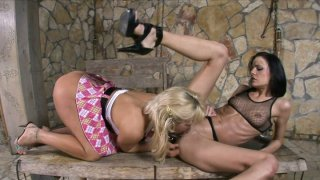 Britney and Aliz make their pussies go wild and horny for lesbie teasing image