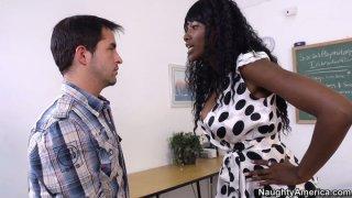 Nasty ebony teacher Nyomi Banxxx argues and punishes her misbehaving student image