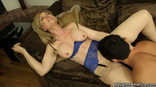 Image: Kinky blond chick Nina Hartley is pro in sucking a cock