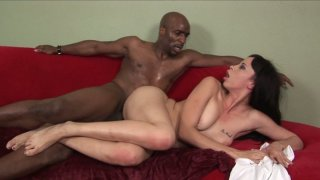Beautiful white babe Pleasure gets pounded hard by black cock image