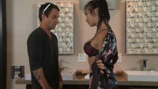 Image: Japanese brunette Katsuni blows and rides dick in bathroom