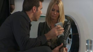 Image: Hungry blonde woman Jessica Drake brags with her new leather outfit