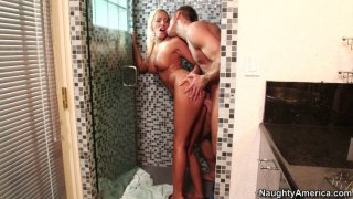 Filthy blonde woman brooke fox gets doggyfucked at the_shower | hinde Phone video image
