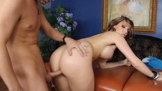 Goegeous babe Courtney Cummz sucks the dick and gets hammered from behind image