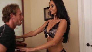 Brunette hottie Ava Addams demostrates her new lingerie making her boyfriend hard image