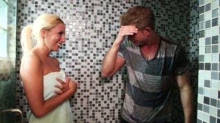 Whorish blonde chick Brooke Fox gives sloppy blowjob image