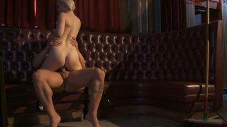 Kinky blonde slut Ash Hollywood rides and takes huge facial image