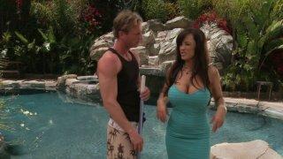 Dumb pool guy with six-pack has to seduce fabulous Lisa Ann image