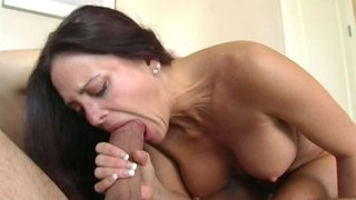 Longhaired slut Cheyenne Hunter starring in an oral sex video image