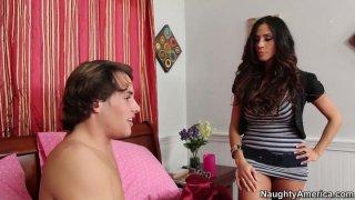 Sexy and busty Ariella Ferrera seduces a man and wins a stiff tool image