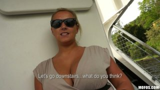 Image: Curvy and busty blonde bombshell Cherlyn shows her giant tits on a boat ride