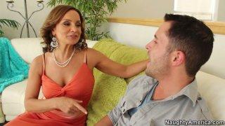 Cougar slut Rebecca Bardoux seduces the guy and gets his cock to suck deepthroat image