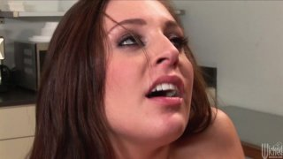 Image: Skanky brunette chick Gracie Glam gets fucked hard in the kitchen