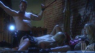 Crazy blondes Jessica Drake and Nikki Benz dominate huge dude image