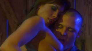 Slutty brunette Kirsten Price rides a cock in the shed at night image