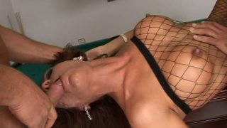 Bounded whore in fishnet outfit Bonny Bon gets brutally mouth fucked balls deep image