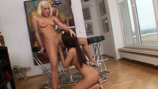 Blonde babe Sophie Moone plays with brunette Jane F image
