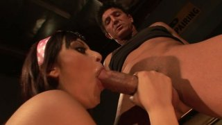 Brunette skanks Audrianna Angel and Danni Cole give double_blowjob image