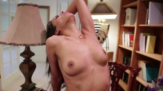 Slim brunette Layla Sin gets fucked on_the study's floor image