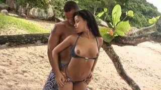 Image: Gorgeous babe Marcella Moraes meets a guy on a beach and fucks him fiercely