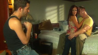 Whorish wife Kirsten Price fucks two guys while her husband is out image
