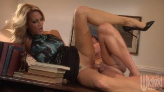 Sexy blonde milf Jessica Drake fucks on the office desk image