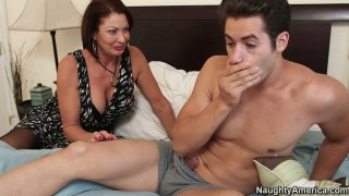 Horny momma Vanessa Videl wakes her young lover with cock kisses image