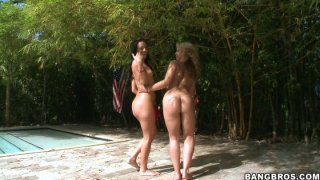 Kinky bitches Sarah Vandella and Ashli Orion demonstrate their asses and later bath in an pool image
