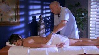 Image: Bald masseur provides full service for hot Alektra Blue