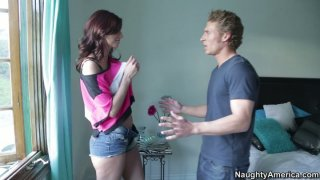 Skinny and hot Katie Jordin gets turned on by blonde dude image