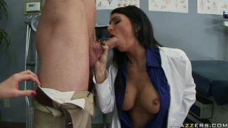 Hungry for cock Jessica Jaymes sucks the dick of a married man in front of his_wife image