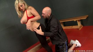 Blondie Dayna Vendetta repays with a stout blowjob after a cunnilingus image