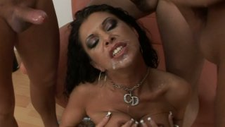 Slutty brunette Cintia Silver has a strong desire to please three tools image