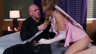 Angelic Monique Alexander gives a head to Johnny Sins and gets poked hard in a missionary position image