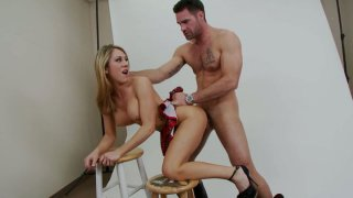 Feisty chick Amber Ashlee gets thrusted doggy style by Charles Dera image
