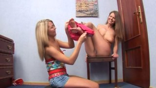 Image: Cute lesbian teens Kelly and Vanilla fondle each other's fresh muffs