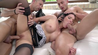 Brunette Lucia Denvile gets fucked by two guys image